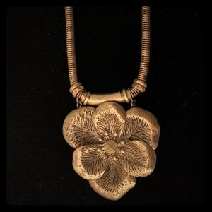 Metal Flower Statement Necklace